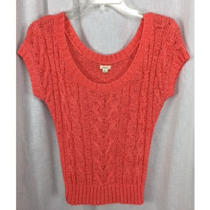 Coral Cable Knit Cap Sleeve Crop Top Sweater S